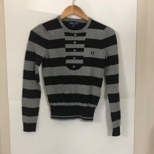 FRED PERRY black and gray small crew neck sweater